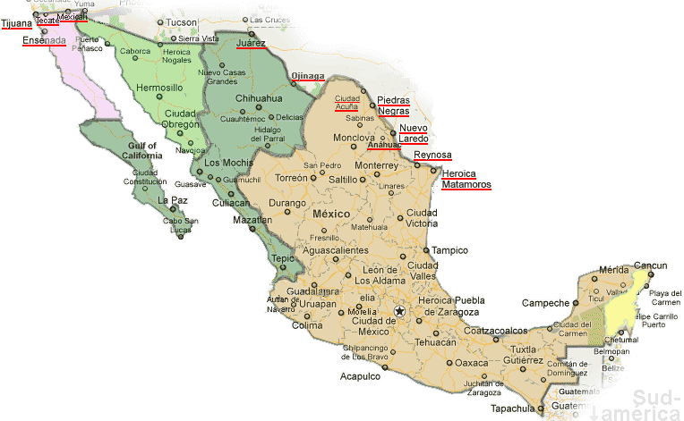 Mexico Time Zones Map - Current local time - Mexico US ...